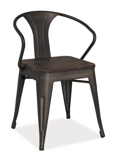 Grafitowe krzesło z siedziskiem z ciemnego orzechu