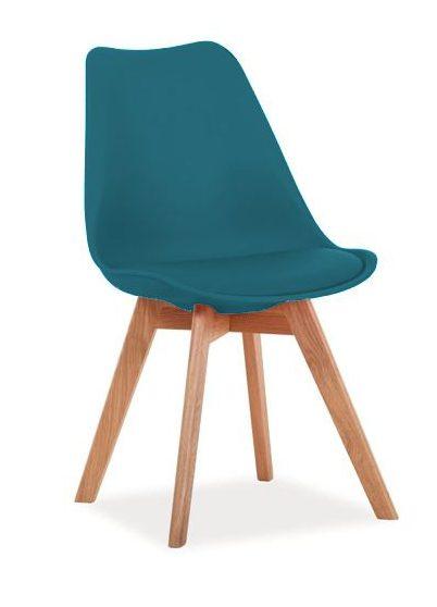 Turkusowe krzesło z siedziskiem z ekoskóry