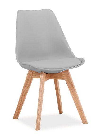 Jasne szare krzesło z siedziskiem z ekoskóry