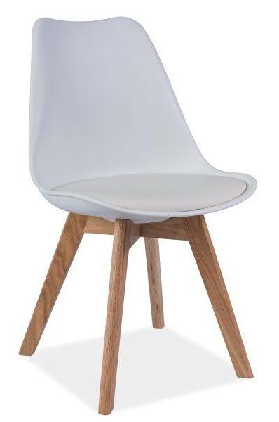 Białe krzesło z siedziskiem z ekoskóry