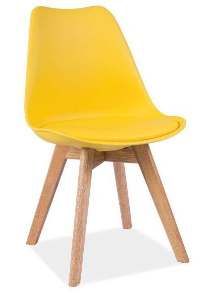 Żółte krzesło z siedziskiem z ekoskóry