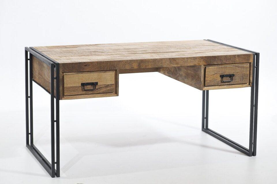 Industrialne biurko z mango z szufladami pod blatem