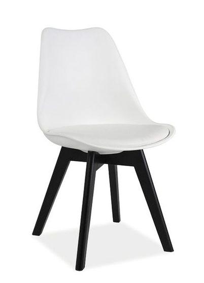 Białek krzesło Kris z czarnymi nogami