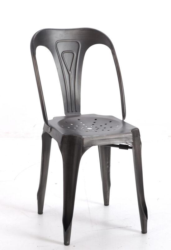 Industrialne krzesło metalowe w kolorze grafitowym