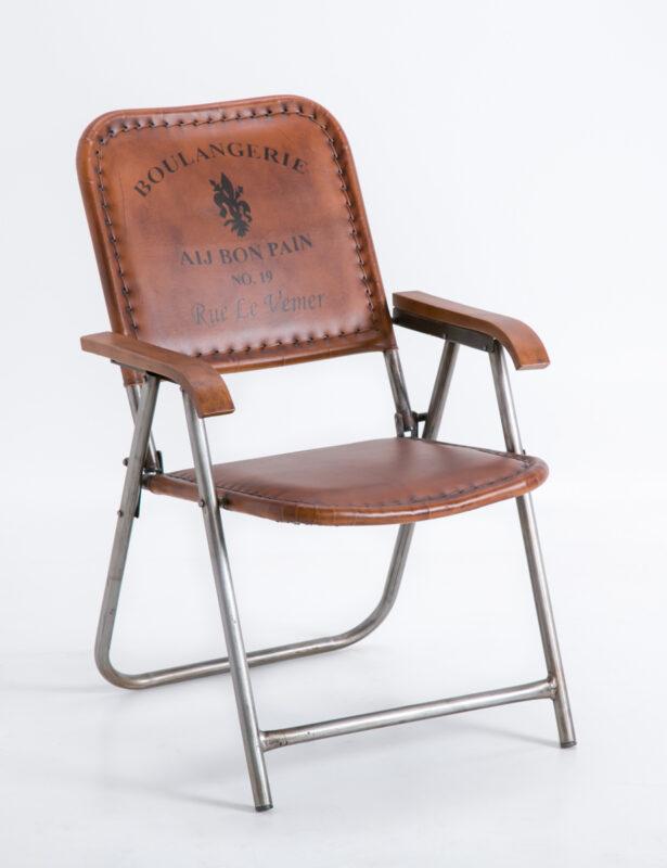 Kolonialny fotel ze skórzanym siedziskiem