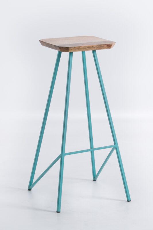 Krzesło barowe na metalowych nogach z siedziskiem z drewna mango Guido