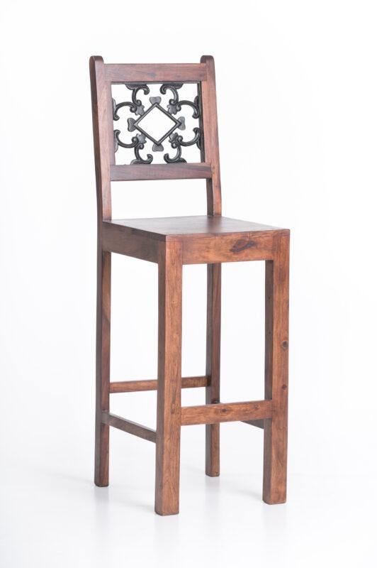 Krzesło barowe z palisandru z kutym wzorem