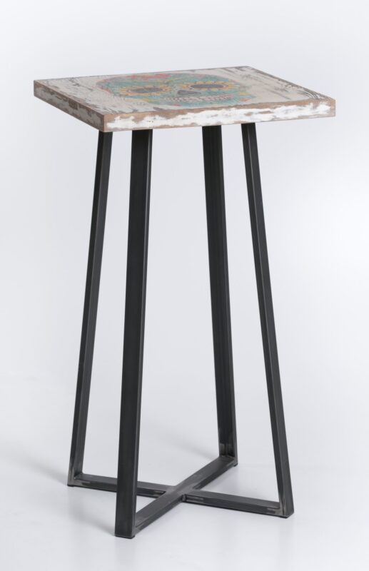 Stół z dębowym blatem z nadrukiem meksykańskiej czaszki i nogami ze stalowego profilu