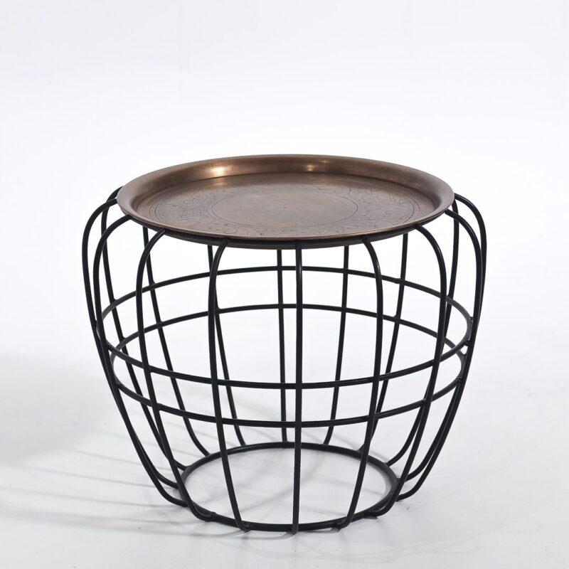 Stolik kawowy z metalową misą
