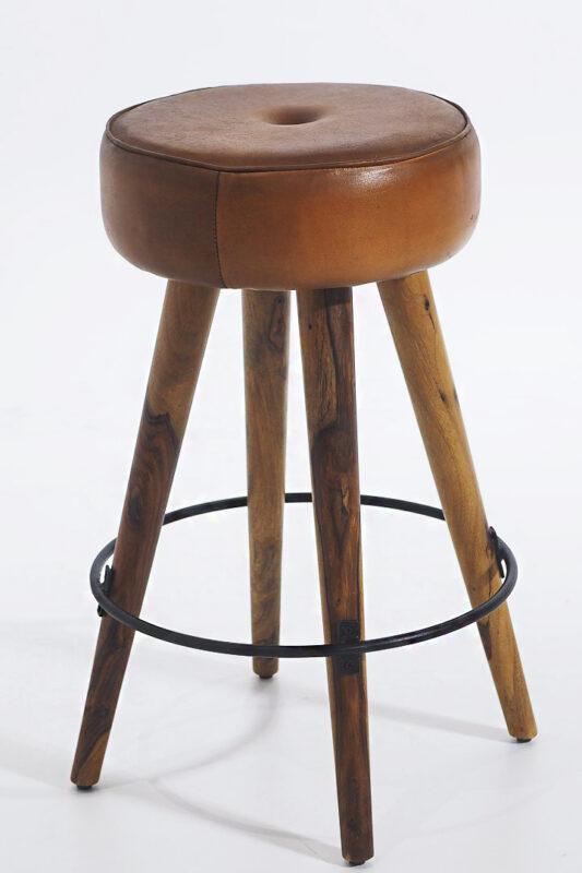 Stołek barowy z nogami mango i skórzanym siedziskiem
