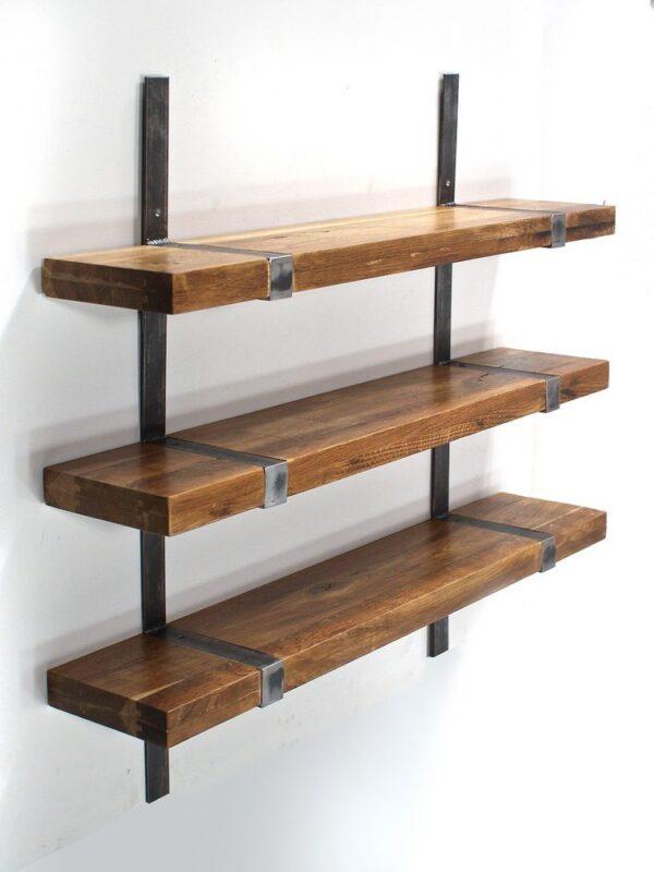 Industrialna półka z drewna dębowego