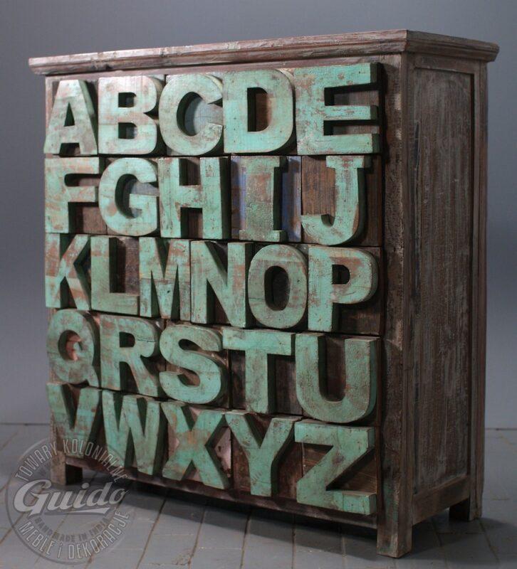 Kolonialna komoda z szufladami ABC